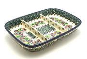 Ceramika Artystyczna Polish Pottery Dish - Divided Rectangular - Burgundy Berry Green 393-1415a (Ceramika Artystyczna)
