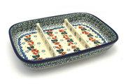 Ceramika Artystyczna Polish Pottery Dish - Divided Rectangular - Cherry Blossom 393-2103a (Ceramika Artystyczna)