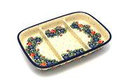 Ceramika Artystyczna Polish Pottery Dish - Divided Rectangular - Garden Party 393-1535a (Ceramika Artystyczna)