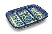 Ceramika Artystyczna Polish Pottery Dish - Divided Rectangular - Huckleberry 393-1413a (Ceramika Artystyczna)