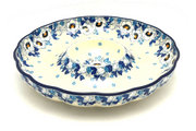 "Ceramika Artystyczna Polish Pottery Dish - Vegetable and Dip - 10"" - White Poppy A22-2222a (Ceramika Artystyczna)"