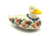 Ceramika Artystyczna Polish Pottery Duck Figurine - Cherry Blossom A46-2103a (Ceramika Artystyczna)