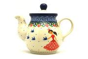 Ceramika Artystyczna Polish Pottery Gooseneck Teapot - 10 oz. - Fairy Princess 020-2523a (Ceramika Artystyczna)