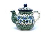 Ceramika Artystyczna Polish Pottery Gooseneck Teapot - 20 oz. - Blue Chicory 119-976a (Ceramika Artystyczna)
