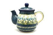 Ceramika Artystyczna Polish Pottery Gooseneck Teapot - 20 oz. - Blue Spring Daisy 119-614a (Ceramika Artystyczna)