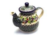 Ceramika Artystyczna Polish Pottery Gooseneck Teapot - 20 oz. - Burgundy Berry Green 119-1415a (Ceramika Artystyczna)