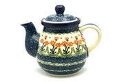 Ceramika Artystyczna Polish Pottery Gooseneck Teapot - 20 oz. - Peach Spring Daisy 119-560a (Ceramika Artystyczna)