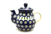 Ceramika Artystyczna Polish Pottery Gooseneck Teapot - 20 oz. - Peacock 119-054a (Ceramika Artystyczna)