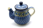 Ceramika Artystyczna Polish Pottery Gooseneck Teapot - 20 oz. - Peacock Feather 119-1513a (Ceramika Artystyczna)
