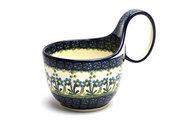 Ceramika Artystyczna Polish Pottery Loop Handle Bowl - Blue Spring Daisy 845-614a (Ceramika Artystyczna)