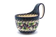 Ceramika Artystyczna Polish Pottery Loop Handle Bowl - Burgundy Berry Green 845-1415a (Ceramika Artystyczna)