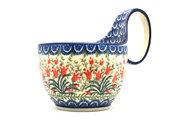 Ceramika Artystyczna Polish Pottery Loop Handle Bowl - Crimson Bells 845-1437a (Ceramika Artystyczna)
