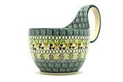 Ceramika Artystyczna Polish Pottery Loop Handle Bowl - Mint Chip 845-2195q (Ceramika Artystyczna)