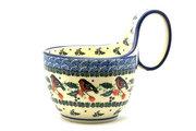 Ceramika Artystyczna Polish Pottery Loop Handle Bowl - Red Robin 845-1257a (Ceramika Artystyczna)