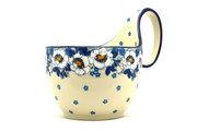 Ceramika Artystyczna Polish Pottery Loop Handle Bowl - White Poppy 845-2222a (Ceramika Artystyczna)