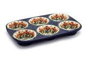 Ceramika Artystyczna Polish Pottery Muffin Pan - Peach Spring Daisy 811-560a (Ceramika Artystyczna)