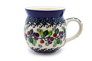 Ceramika Artystyczna Polish Pottery Mug - 11 oz. Bubble - Burgundy Berry Green 070-1415a (Ceramika Artystyczna)