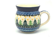 Ceramika Artystyczna Polish Pottery Mug - 15 oz. Bubble - Christmas Trees 073-1284a (Ceramika Artystyczna)