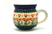 Ceramika Artystyczna Polish Pottery Mug - 15 oz. Bubble - Peach Spring Daisy 073-560a (Ceramika Artystyczna)