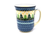 Ceramika Artystyczna Polish Pottery Mug - 16 oz. Bistro - Christmas Trees 812-1284a (Ceramika Artystyczna)