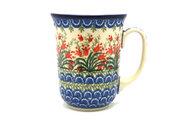 Ceramika Artystyczna Polish Pottery Mug - 16 oz. Bistro - Crimson Bells 812-1437a (Ceramika Artystyczna)
