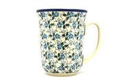 Ceramika Artystyczna Polish Pottery Mug - 16 oz. Bistro - Forget-Me-Knot 812-2089a (Ceramika Artystyczna)