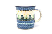 Ceramika Artystyczna Polish Pottery Mug - Big Straight Sided - Christmas Trees B13-1284a (Ceramika Artystyczna)