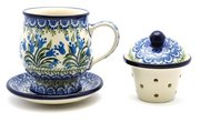 Ceramika Artystyczna Polish Pottery Mug - with Infuser - Blue Bells 122-1432a (Ceramika Artystyczna)