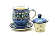 Ceramika Artystyczna Polish Pottery Mug - with Infuser - Peacock Feather 122-1513a (Ceramika Artystyczna)