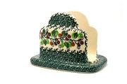 Ceramika Artystyczna Polish Pottery Napkin Holder - Burgundy Berry Green 487-1415a (Ceramika Artystyczna)