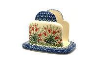 Ceramika Artystyczna Polish Pottery Napkin Holder - Crimson Bells 487-1437a (Ceramika Artystyczna)