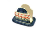 Ceramika Artystyczna Polish Pottery Napkin Holder - Peach Spring Daisy 487-560a (Ceramika Artystyczna)