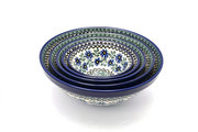 Ceramika Artystyczna Polish Pottery Nesting Bowl Set - Blue Chicory S05-976a (Ceramika Artystyczna)
