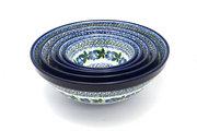 Ceramika Artystyczna Polish Pottery Nesting Bowl Set - Blue Pansy S05-1552a (Ceramika Artystyczna)