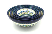 Ceramika Artystyczna Polish Pottery Nesting Bowl Set - Blue Spring Daisy S05-614a (Ceramika Artystyczna)