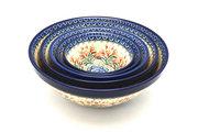 Ceramika Artystyczna Polish Pottery Nesting Bowl Set - Crimson Bells S05-1437a (Ceramika Artystyczna)