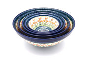 Ceramika Artystyczna Polish Pottery Nesting Bowl Set - Peach Spring Daisy S05-560a (Ceramika Artystyczna)