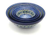 Ceramika Artystyczna Polish Pottery Nesting Bowl Set - Peacock Feather S05-1513a (Ceramika Artystyczna)