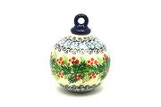 Ceramika Artystyczna Polish Pottery Ornament - Ball - Holly Berry 186-1734a (Ceramika Artystyczna)