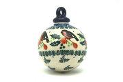 Ceramika Artystyczna Polish Pottery Ornament - Ball - Red Robin 186-1257a (Ceramika Artystyczna)