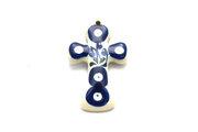 Ceramika Artystyczna Polish Pottery Ornament - Cross - Bleeding Heart 612-377o (Ceramika Artystyczna)