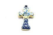 Ceramika Artystyczna Polish Pottery Ornament - Cross - Blue Bells 612-1432a (Ceramika Artystyczna)