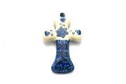 Ceramika Artystyczna Polish Pottery Ornament - Cross - Blue Poppy 612-163a (Ceramika Artystyczna)