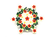 Ceramika Artystyczna Polish Pottery Ornament - Snowflake - Cherry Jubilee A88-2284a (Ceramika Artystyczna)