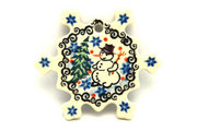 Ceramika Artystyczna Polish Pottery Ornament - Snowflake - Unikat Signature - U4661 A88-U4661 (Ceramika Artystyczna)