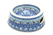 Ceramika Artystyczna Polish Pottery Pet Food/Water Dish - 16 oz. - Blue Yonder 525-2187a (Ceramika Artystyczna)