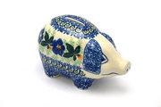 Ceramika Artystyczna Polish Pottery Piggy Bank - Blue Pansy 155-1552a (Ceramika Artystyczna)