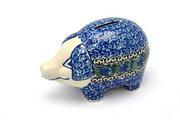 Ceramika Artystyczna Polish Pottery Piggy Bank - Peacock Feather 155-1513a (Ceramika Artystyczna)