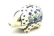 Ceramika Artystyczna Polish Pottery Piggy Bank - Silver Lace 155-2158a (Ceramika Artystyczna)