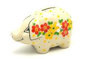 Ceramika Artystyczna Polish Pottery Piggy Bank - Spring Blossom 155-2518q (Ceramika Artystyczna)
